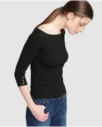 Polo Ralph Lauren - Black Boat Neck T-shirt - Lyst