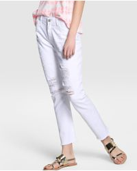 Green Coast | White Ripped Straight Jeans | Lyst