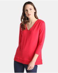 Zendra El Corte Inglés - Pink El Corte Inglés Zendra V-neck T-shirt With French Sleeves - Lyst