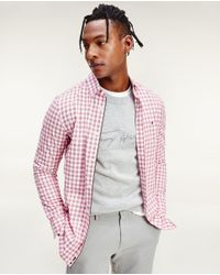 Camisa De Hombre Slim De Cuadros Rosa Tommy Hilfiger de hombre de color Pink