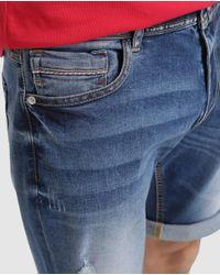 GREEN COAST Navy Blue Denim Bermuda Shorts for men