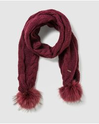 Gloria Ortiz - Red Knitted Scarf With Fur Pompoms - Lyst