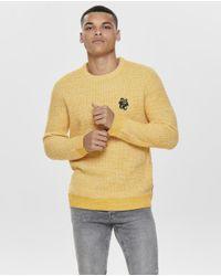 Jersey De Hombre Amarillo Con Cuello Caja Only & Sons de hombre de color Yellow