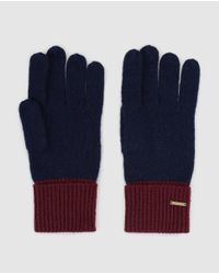 Gloria Ortiz - Navy Blue And Maroon Knitted Wool Gloves - Lyst