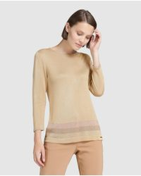 Yera - Camel Brown Sweater With Lurex Stripes - Lyst