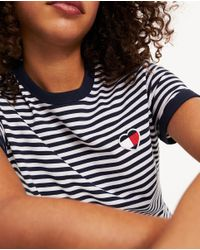 Tommy Hilfiger Multicolor Wo Striped T-shirt With Heart-shaped Flag Logo On The Chest
