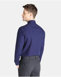 Armani - Regular-fit Plain Blue Shirt for Men - Lyst