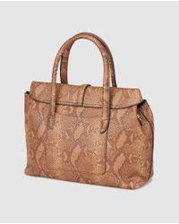 El Corte Inglés Large Brown Handbag With Snakeskin Effect