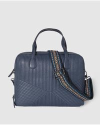 El Corte Inglés Wo Navy Blue Leather Quilted Briefcase With Detachable Strap