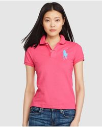 Polo Ralph Lauren - Pink Skinny-fit Big Pony Polo Shirt - Lyst