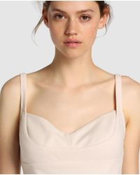 Vera Wang - Natural Plain Nude Evening Dress - Lyst