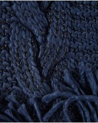 El Corte Inglés Navy Blue Knitted Scarf With Fringe