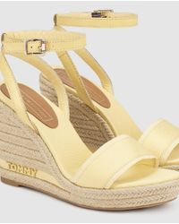 Tommy Hilfiger Yellow Wedge Espadrilles With Crossed Ankle Strap