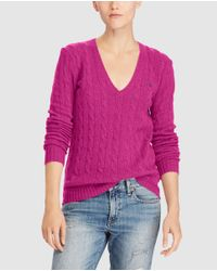 Polo Ralph Lauren | Pink V-neck Cable Stitch Sweater | Lyst