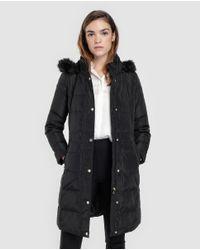 Lauren by Ralph Lauren - Black Long Hooded Quilted Coat - Lyst