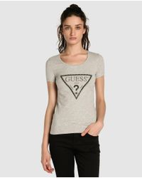 Guess - Gray T-shirt With Logo And Rhinestones - Lyst
