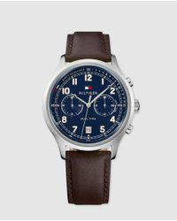 Tommy Hilfiger 1791385 Brown Leather Multi-function Watch for men