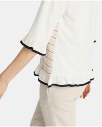 Yera - White Striped T-shirt With Frills - Lyst