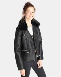 GREEN COAST - Black Biker Jacket With Fur Trim - Lyst