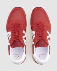 Armani Exchange Red Lace-up Trainers for men