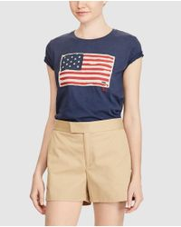 Polo Ralph Lauren | Blue T-shirt With A Flag On The Front | Lyst