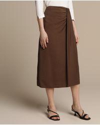 Falda Marrón Woman Collection Con Pliegue En Cintura Woman El Corte Inglés de color Brown