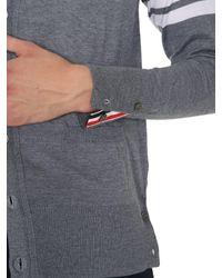 Thom Browne Gray V-neck Merino Wool Cardigan With 4 Bar Detail for men