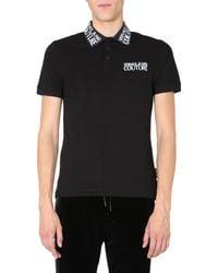 Versace Jeans Black Regular Fit Cotton Pique Polo Shirt With Logo for men