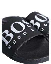 BOSS Athleisure Black Slide In Gomma Logata for men