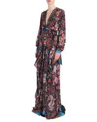 Etro Black Paisley Printed Long Silk Dress