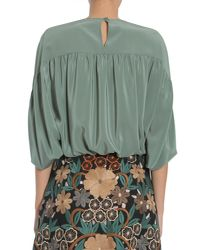 RED Valentino Green Batwing Silk Blouse