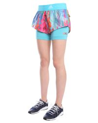 Adidas By Stella McCartney Blue Run Two-in-one Printed Shorts