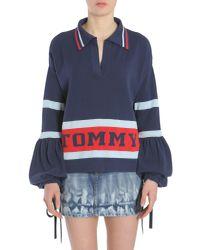 Tommy Hilfiger Blue Maglia A Righe Con Logo