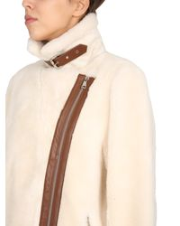 """STAND White """"colleen"""" Shearling Jacket"""