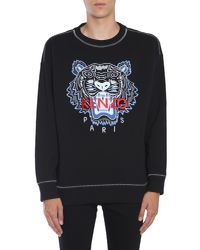 KENZO - Black Cotton Sweatshirt With Embroidered Tiger for Men - Lyst