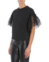 MSGM - Black Tulle Sleeve Cotton T-shirt - Lyst