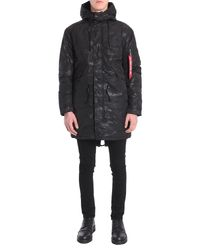 Alpha Industries Black Bomber Lungo In Tessuto Tecnico Stampa Camouflage for men