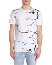 Diesel Black Gold White T-shirt Ty-testa In Jersey Di Cotone Con Stampa for men