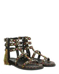 Ash - Black Emboridered Medelin Sandals With Tassel - Lyst