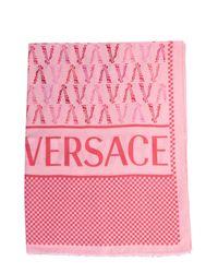 SCIARPA CON LOGO IN MISTO SETA di Versace in Pink