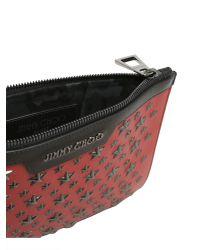 Jimmy Choo Red Derek Mini Biker Leather Pouch