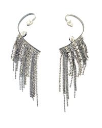 Emanuele Bicocchi White Right Side One-earring With Crystales