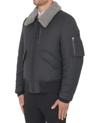 Lanvin Gray Wool Bomber With Detachable Neck for men