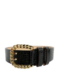 DSquared² - Black Crocodile Embossed Leather Belt - Lyst