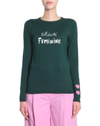 Bella Freud - Green Wool Jumper With Solidarite Feminine Intarsia And Embroidery - Lyst