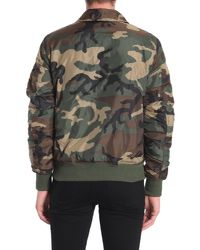 Alpha Industries Green Bomber In Tessuto Tecnico Stampa Camouflage for men