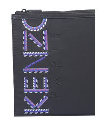 KENZO Black A4 Technical Fabric Clutch With Logo Print for men