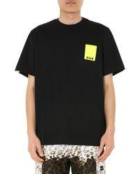 MSGM Black Cotton Crew Neck T-shirt With Label Logo for men