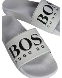 BOSS Athleisure White Slide In Gomma Logata for men