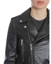 Saint Laurent - Motorcycle Jacket In Shiny Black Vintage Leather - Lyst